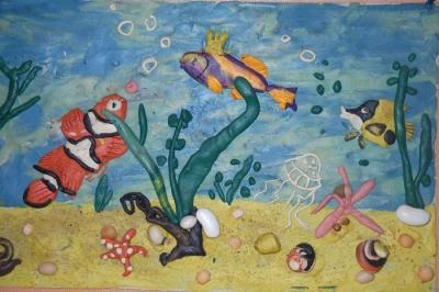 Рыбки из пластилина - картина, панно